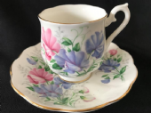 Royal ALBERT 'sweet pea' pattern espresso cup & saucer